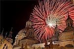 Fireworks During Fiestas del Pilar Exploding Over the Basilica del Pilar, Zaragoza, Aragon, Spain