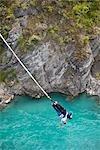 Bungee Jumping off Kawarau Suspension Bridge near Queenstown, South Island, New Zealand