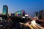 Chine, Beijing, Haidian district, quartier de Zhongguancun. Le Sinosteel et bâtiment de Plaza e dans de plus gros ordinateur et électronique centre commercial.