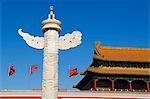 China, Peking. Huabiao Statue und Tor des Himmlischen Friedens, die Verbotene Stadt Palace Museum.