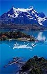 Parc National de Torres Del Paine, Chili Lago Pehoe. Hosteria Pehoe avec Massif Paine derrière.