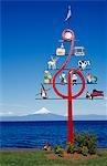 Chili, Lake District, Frutillar. Art moderne célèbre le festival de musique annuel qui s'est tenue à Frutillar sur les rives du Lago Llanquihue.