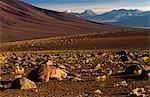 Chile,Region II,San Pedro de Atacama. Dry volcanic landscape looking across to Volcano Licancabur.