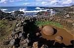 Chile,Easter Island. Ceremonial site near the village of Hanga Roa