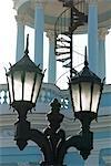 Cuba,Cienfuegos. Street lamps in front of Casa de Cultura Benjamin Duarte,Jose Marti Plaza