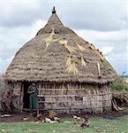 Une ferme du peuple Oromo Arsi, à l'ouest de l'Aje. Le vieux pot placé sur le poteau du centre de la maison est un décor de toit commun et maintient la pluie. Petits bouquets de Teff, une céréale à petits grains, sont séchées sur le chaume.Teff est abondamment cultivé en Ethiopie et sert à fabriquer l'injera, fermenté, Crêpe de type de pain, qui est le plat national du pays.
