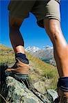 Hiker on trail above Schwarzee Paradise,Zermatt,Valais,Switzerland