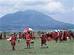A Colourful Maasai livestock market near the towering extinct volcano of Kerimasi.
