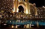 United Arab Emirates,Dubai,The Atlantis Palm Hotel. The main facade of the hotel illuminated at night