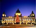 Christmas tree lit up in front of Belfast City Hall, Belfast, Ireland