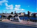 Limerick, Co Limerick, Ireland; View of the Thomond Bridge, Treaty Stone and King John's castle