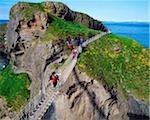 Tourists, Carrick-a rede Rope Bridge, Co Antrim, Ireland