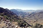 Oman, montagnes Hajar Western. À l'ouest de la zone côtière se trouve le plateau de Oman central et les montagnes occidentales de Hajar Al (Al Hajar al Gharbi Mountains).