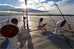 Peru,Amazon,Amazon River. Deck of the Riverboat Ayapua on the Amazon River.