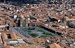 Peru,Cusco. View over the Plaza de Armas,showing the jesuit church La Compania.