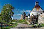 Russland, Weißes Meer, Solowezki-Inseln. Der Kremlmauer.