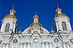 Russland; St. Petersburg; St. Nicholas Kathedrale. Bau der St. Nikolaus-Kathedrale begann im Jahre 1753 im Auftrag der Kaiserin Elizabeth und das Alter im Jahre 1760 geweiht. Es wurde eine Marine-Kathedrale im Auftrag von Katharina der großen offiziell und bleibt eines der markantesten Beispiele barocker Architektur in der Stadt.