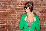 Woman Wearing Work Out Wear by Brick Wall