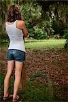 Frau stand im Freien, Savannah, Georgia, USA