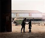 femme d'affaires serrant la main de l'agriculteur