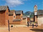 An attractive Betsileo village and church near Ambalavao,Madagascar