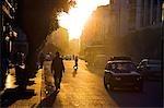 The sun sets over Boulevard de Paris in the heart of the Ville Neuvelle,Casablanca