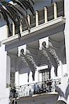 A period balcony from an Art Deco villa in downtown Casablanca.