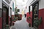Street scene in the Kasbah or old fortress in the medina of Tangier.