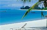 A sun lounger on the beach at Benguerra Lodge.