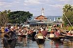 Myanmar. Burma. Lake Inle. The picturesque floating market of Ywa-ma on Lake Inle.