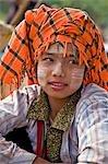Myanmar. Burma. Lake Inle. A pretty Pa-O woman at the floating market of Ywa-ma on Lake Inle.