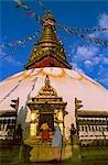 Faire une offrande, le Stupa de Swayambhunath, le Temple aux singes