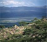 Traditionnel Marakwet propriété familiale construite sur les pentes rocheuses de l'est des monts Cherangani ont une belle vue sur la vallée de Kerio.
