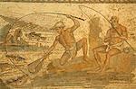Betäubung Mosaik der Fischer stellte ursprünglich von den römischen Seiten, jetzt im Museum von Tripolis, Libyen.