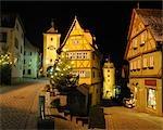 Ploenlein Street with Siebers Tower at Dusk, Rothenburg ob der Tauber, Bavaria, Germany
