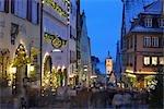 Market Decorated for Christmas, Rothenburg ob der Tauber, Bavaria, Germany