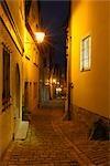 Narrow Cobblestone Street at Night, Rothenburg ob der Tauber, Bavaria, Germany