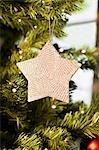 Nahaufnahme von Stern Schmuck am Weihnachtsbaum