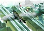 Planes and escalators, montage