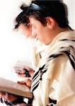 Jewish  men praying, blurry.