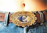 Boucle de ceinture signe euro.