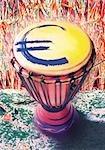 Symbole de l'euro sur le djembé.