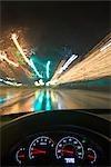 Driving Through City at Night