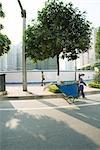 Chine, Province du Guangdong, Guangzhou, préposé à l'entretien public tirant bin par la rue