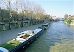 France, Paris, barges in River Seine