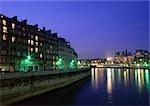France, Paris, la Seine dans la nuit