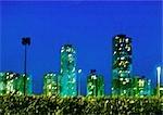 France, Paris, highrise aparment buildings at night