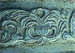Stone carving mit Blumenmotiv, Nahaufnahme