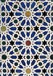 Tile mosaic with star motif, close-up
