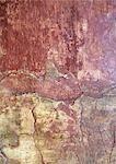 Fresque sur le mur fissuré, très gros plan